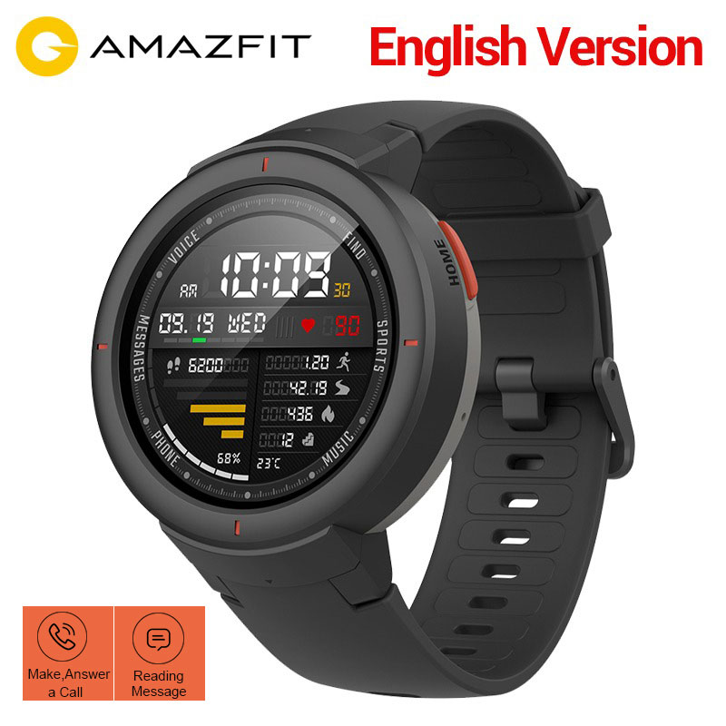 Xiaomi Huami Amazfit Verge Smart Watch English Version 1.3 Inch AMOLED Screen With GPS HR Sensor Answer Calls IP68 Waterproof