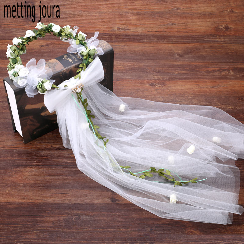 Metting Joura Wedding Bridal Green Flower Wreath with long White Veil Headband Hair Jewelry metting joura vintage bohemian ethnic colored seed beads flower rhinestone handmade elastic headband hair band hair accessories