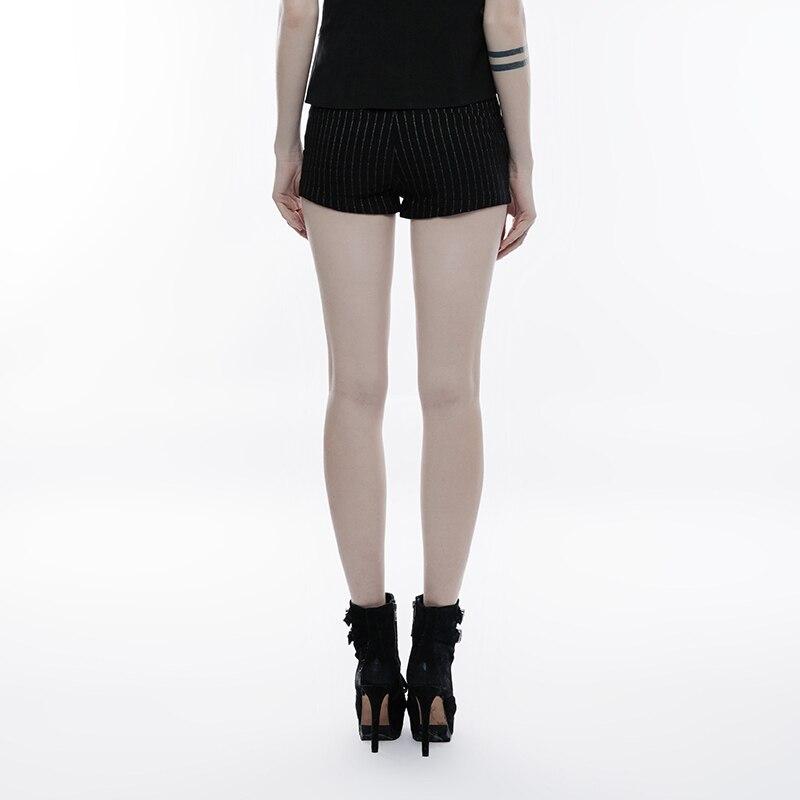 Mode Twill Muster Slim Einstellbar Seite Loop-Design Weibliche Streifen kurzen Hosen Elegante Hohe Taille Shorts PUNK RAVE OPK-146XDF