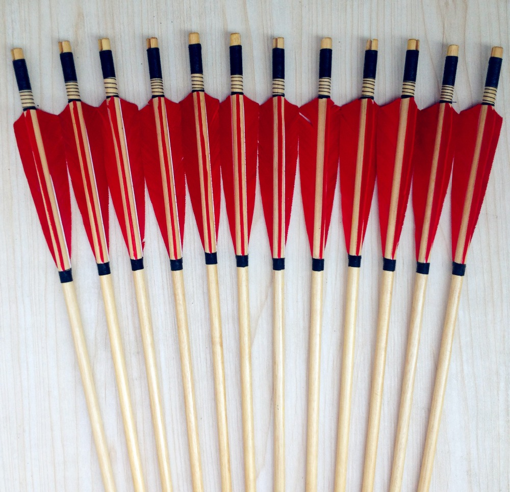 12PK new traditional wooden arrow Turkey feather shooting hunting for outdoor Longbow