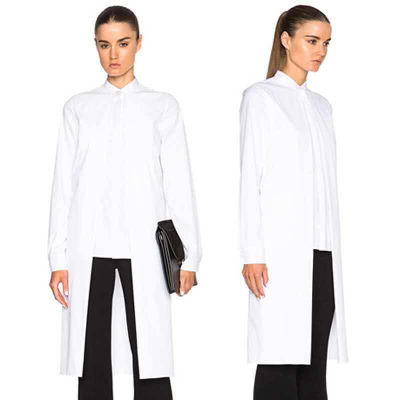 New 2017 European Fashion Women Long Sleeve Top Long Shirt Blouse Black White Solid Color Irregular