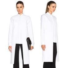 Новый 2017 Европейская Мода Женщины С Длинным Рукавом Топ Длинные Рубашки Блузка Черный Белый Сплошной Цвет Нерегулярные Длина Женские Блузки 1645