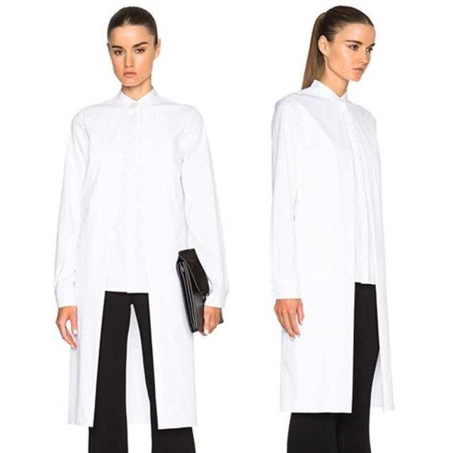 New 2017 European Fashion Women Long Sleeve Top Long Shirt Blouse Black White Solid Color Irregular Length Female Blouses 1645