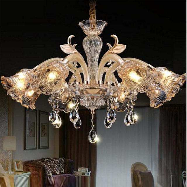 Hand Blown Glass Chandeliers Luxury Modern Led Dining Room Bar Crystal Chandelier Bedroom Living