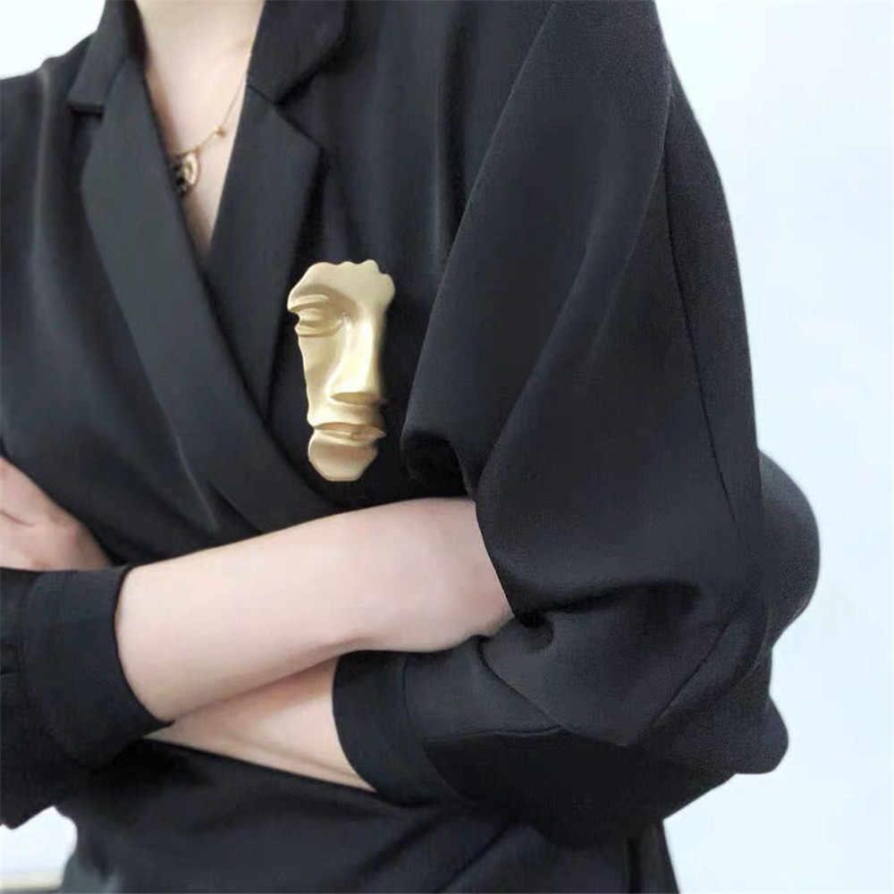 MLING Fashion Gold Human Head Alloy Brooch Vintage Half Face Mask Brooch For Women