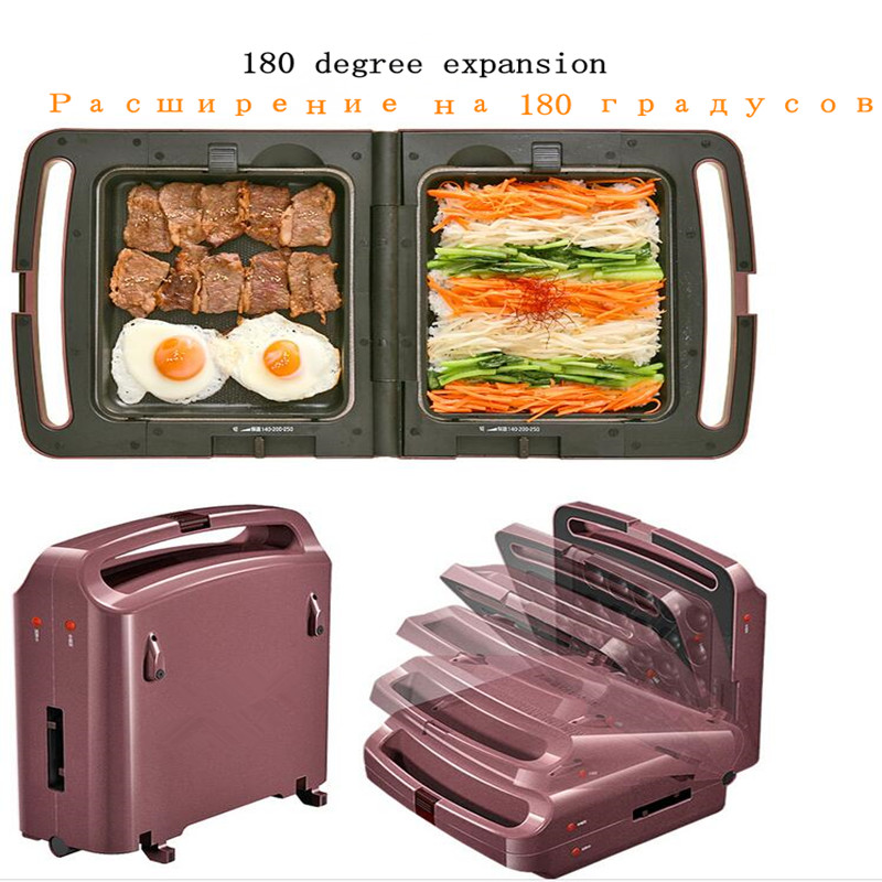Multi Electric Cooker Machine 220V Non-stick Automatic Electric Crepe Maker Meatball Machine Frying Plate &3 Plates High Qualit jiqi stainless steel electric crepe maker plate grill crepe grill machine