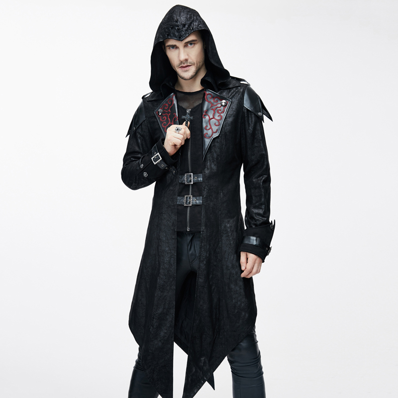 Devil Fashion Punk Jackets for Men Faux Leather Swallowtail Coats Steampunk Gothic Autumn Winter Hooded Coats