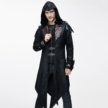 Devil Fashion Punk Jackets for Men Faux Leather Swallowtail Coats Steampunk Gothic Autumn Winter Hooded Coats Handsome Overcoat