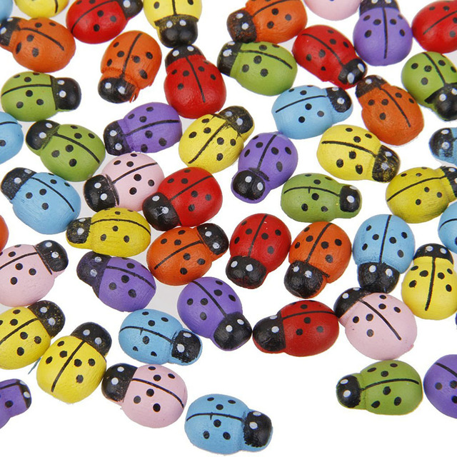100pcs Mini Ladybugs Shaped Stickers Miniature Ornament DIY Kit for Fairy Garden Dollhouse Plant Decor (Mixed Color)