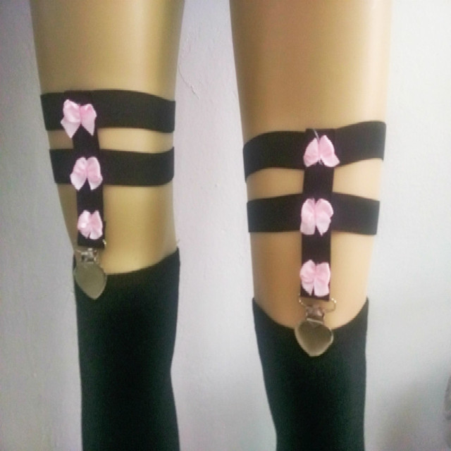 2017 new pastel goth elastic stocking with garterbelt flower female suspender belt bust leg bondage clip stocking black retail