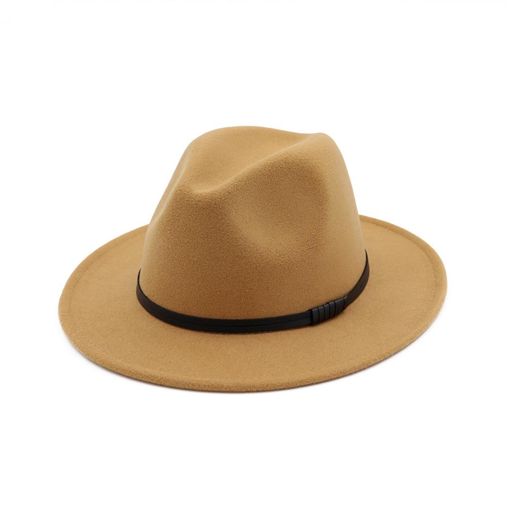 490d3ba96 Fedora Hat for Women Lady Elegant Wo Wide Brim Floppy Felt Trilby Chapeau  Casual Bowler Hat