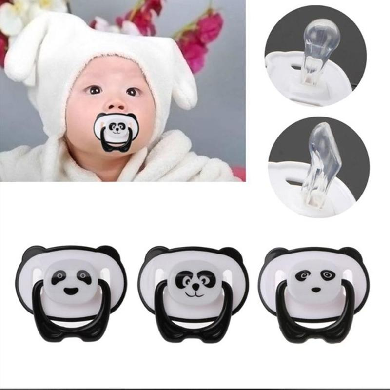 Panda Nipple Dummy Pacifier Baby Food Grade PP Silicone Non-toxic Pacifier Toddler Orthodontic Nipple With Ring Teether Pacifier
