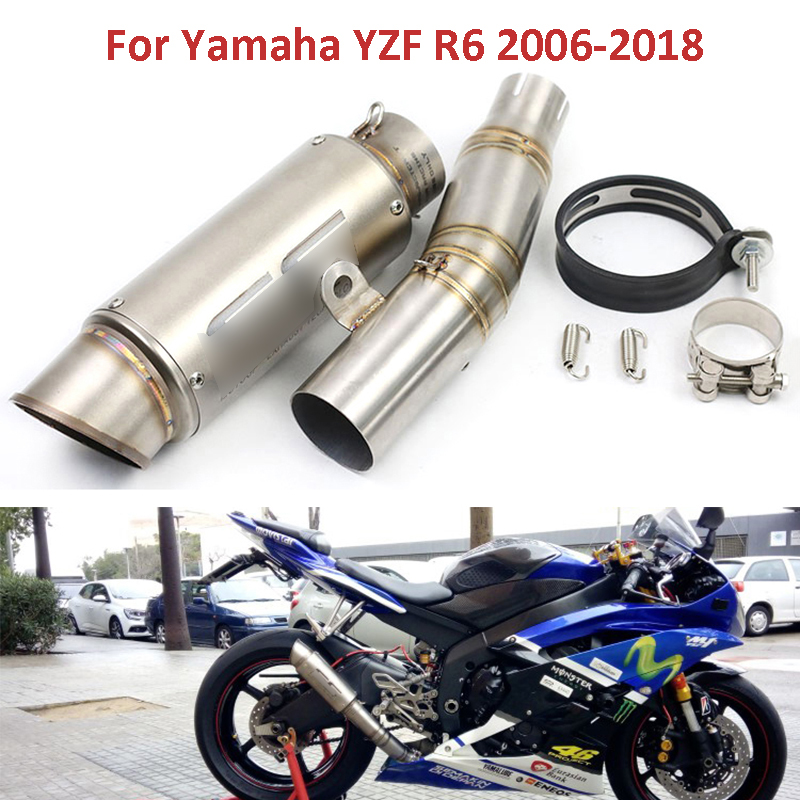 R6 Motorcycle Exhaust System Slip On Mid Link Pipe Middle Pipe Exhaust Baffler For Yamaha YZF