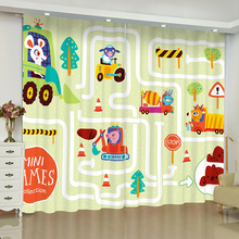 Cartoon Digger Car Curtains for Window Children Room Decor Blinds Finished Drapes Window Blackout Curtains Parlour Room Blinds nightmare curtains for window dark style butterfly batman blinds finished drapes window blackout curtains parlour room blinds