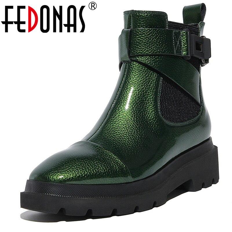 Женские ботильоны на платформе с пряжкой FEDONAS, зеленые полусапожки на толстых каблуках, короткие мотоботинки на осень и зиму 2019