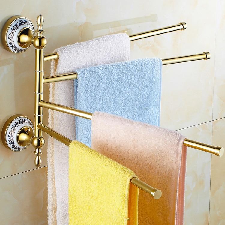 Fashionable 3 Bars Flexible 180 Degree Rotating Moving Towel Rack Towel Rail Towel Rod