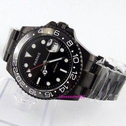 40mm czarna tarcza Parnis luminous czarny PVD przypadku szkła szafirowego GMT mechanizm automatyczny zegarek męski 364 relogio masculino