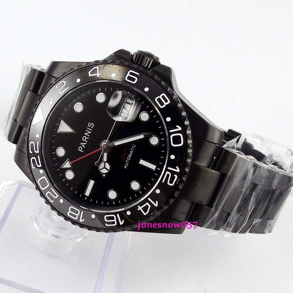 лучшая цена 40mm parnis black dial luminous black PVD case sapphire glass GMT automatic movement men's watch 364 relogio masculino