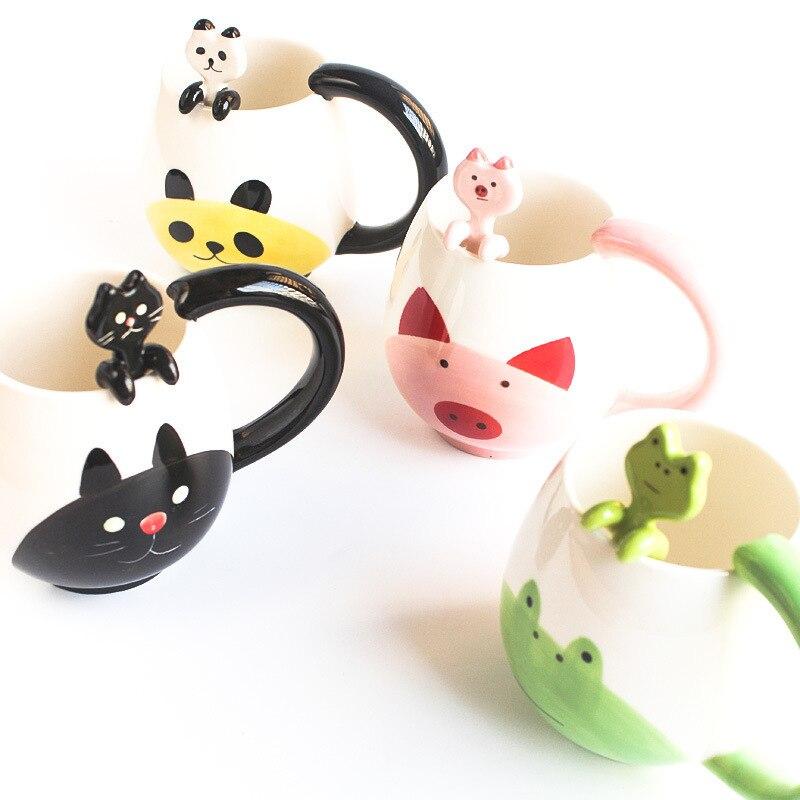 Cartoon cute japanese animal mug Creative milk coffee ceramic cup Cat panda bear pig mug Holiday gift Drinking water cup