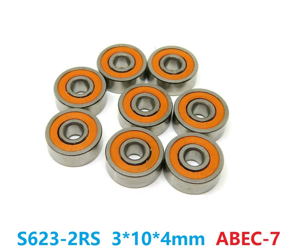 6pcs or 10pcs S623-2RS 3x10x4 mm ABEC-7 Stainless Steel hybrid Si3n4 ceramic bearing 623RS 623 2RS CB LD for fishing reel 3*10*4