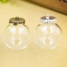 NEW 100 sets/lot 30mm (15mm opening) Glass globe with crown base set glass bottle vials pendant Jewelry Accessory