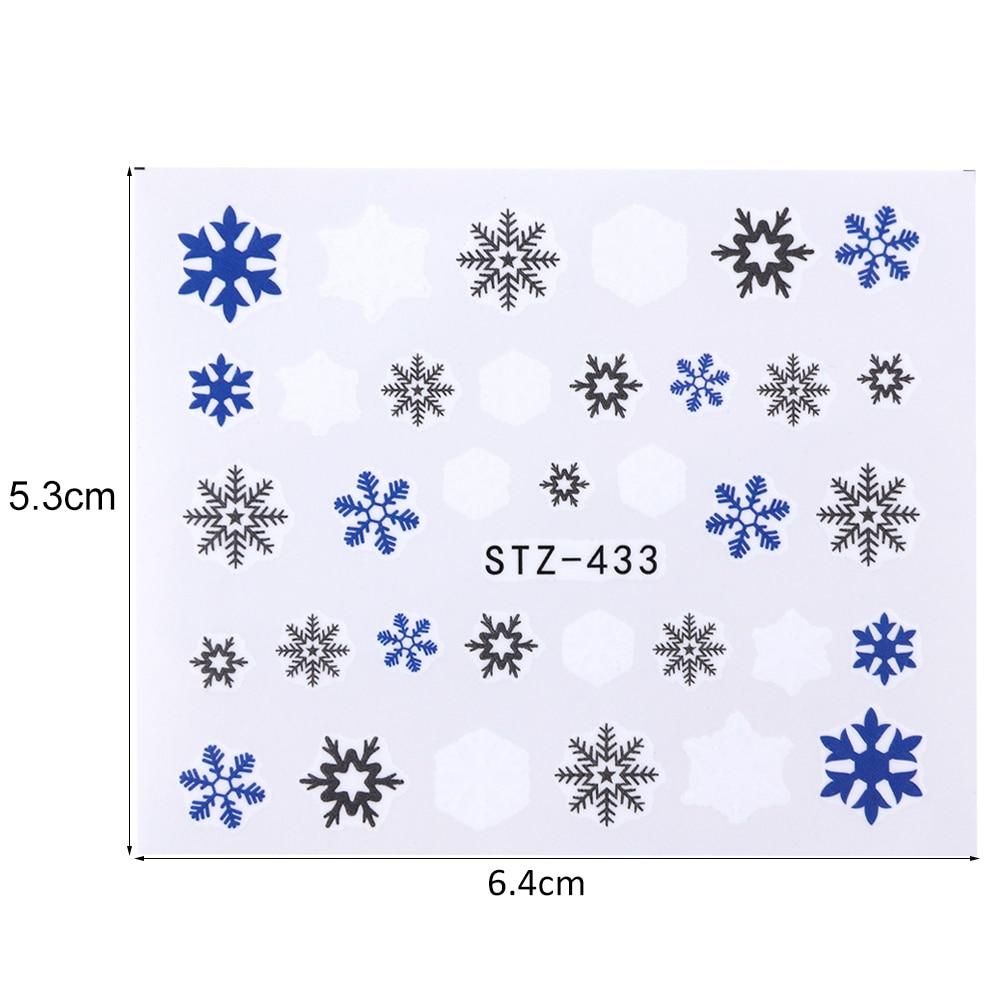 Image 4 - 30 ピース/セット雪のステッカー冬マニキュア水転写デカール雪だるま鹿白青ネイルアート箔装飾 TR862 -    グループ上の 美容