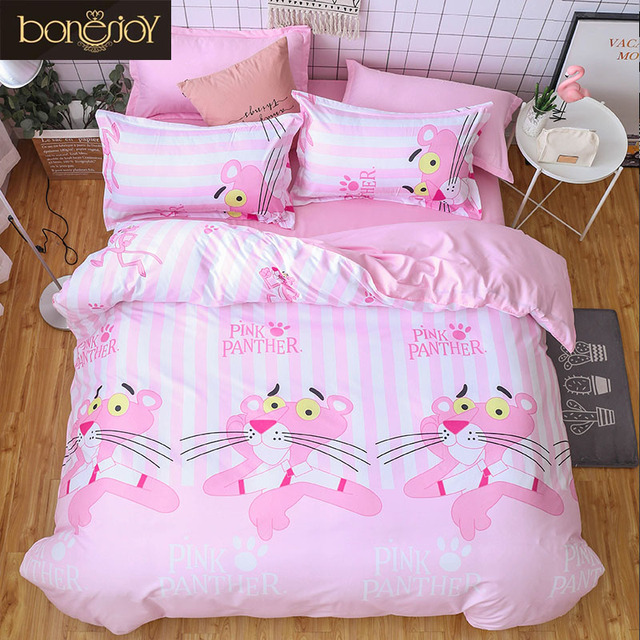 cb715659680 Bonenjoy Pink Cartoon Duvet Cover Sets for Little Girl Twin Size Quilt  Cover Bed Sheet Pillowcase