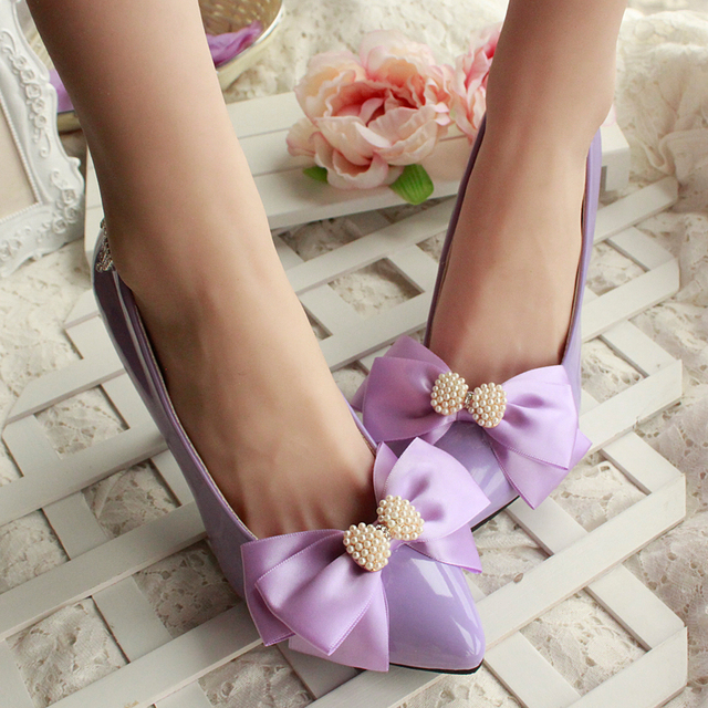 New party shoes for women 2017 point toes sexy thin heeled pink white purple party pumps shoe bow bowtie rhinestone dress pump