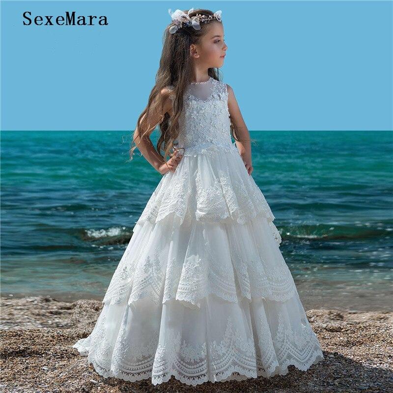 New Arrival White Ivory Flower Girl Dresses For Weddings Vestidos daminha Kids Pageant Gowns First Communion Dresses Custom Size