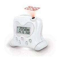 Silence Electronic Figure Cute Child Projection Creative Alarm Clock USB Temperature Calendars Lazy Student Bedside