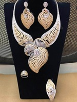 GODKI Luxury Half Of Bow Super Shiny Women Wedding Cubic Zirconia Necklace Earring Saudi Arabia Jewelry Set Jewellery Addiction