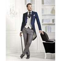 Custom Made Italian Dark Blue Morning Suit Wedding Suits For Men Terno Slim Fit Man S