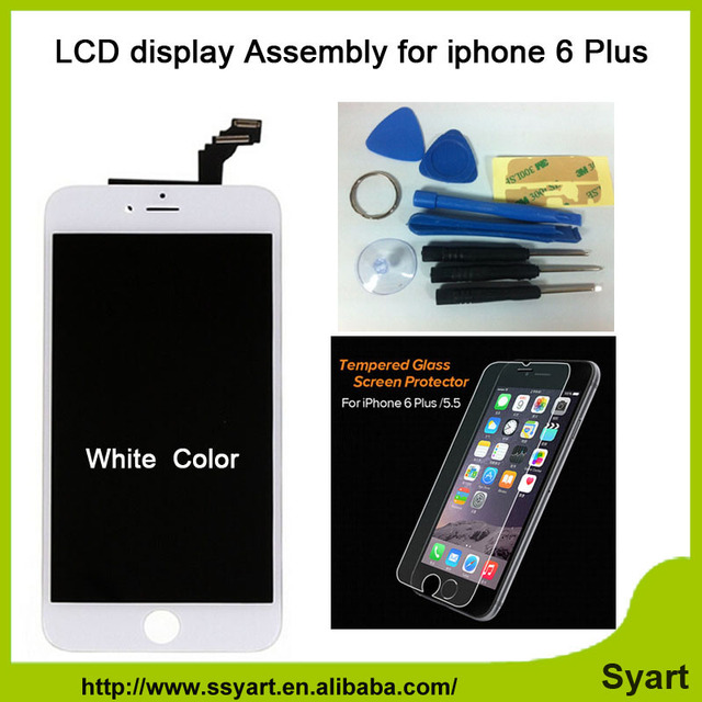 """1pcs white 6plus High Quality 5.5"""" LCD Screen display touch digizel Assembly with tempered glass Lens Pantalla For iPhone 6 plus"""