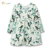 Birds Flowers Girls Dress Winter 2016 Girl Children Clothing Autumn Brand Clothes Toddler Kids Dress For