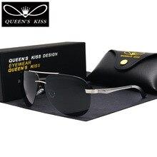 QUEENS KISS Polarized Sunglasses Men Brand HD Polaroid Lens Reflective Coating Driving Sunglasses Vintage Male Google Eyewear