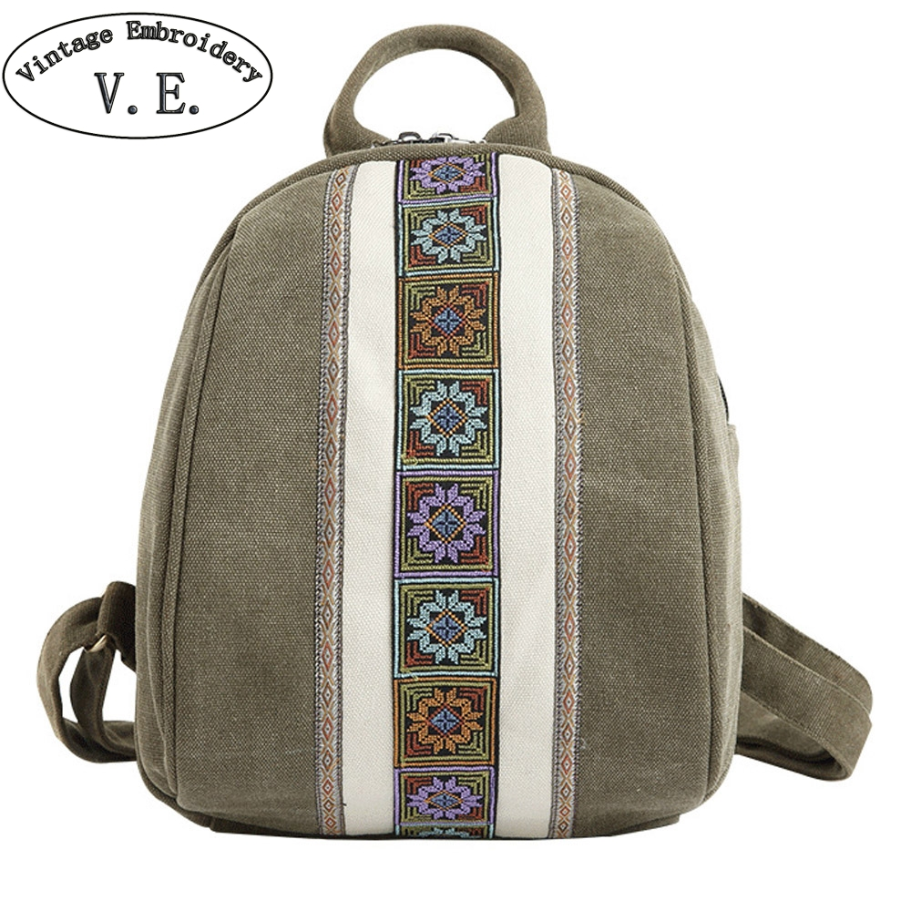 cb18e7787256 US $20.37 47% OFF|Vintage Women Backpack Boho Simple Embroidery Canvas  Backpacks Mini Schoolbag Rucksack Travel Beach Shoulder Bag-in Backpacks  from ...
