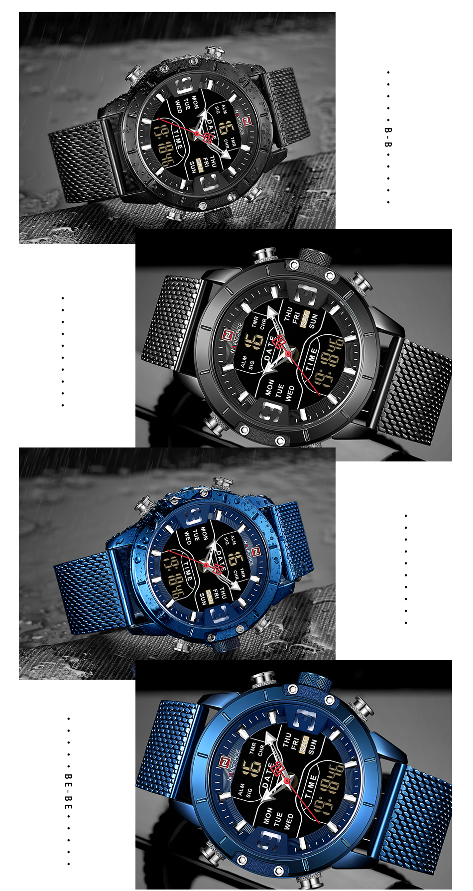 NAVIFORCE 2019 Men Military Waterproof LED Quartz Sport Watches Military Stainless Steel Mesh Male Business Relogio Masculino  (10)