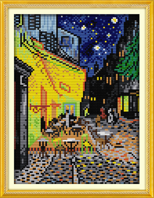 Van Gogh coffee shop scenery home decor canvas Cross Stitch kits 14ct white 11ct print embroidery DIY handmade needlework wall