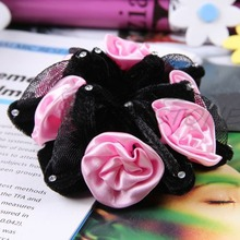 New Rose Flower Bun Garland Floral Head Knot Hair Top Elastic Bridal Scrunchie Band-J117