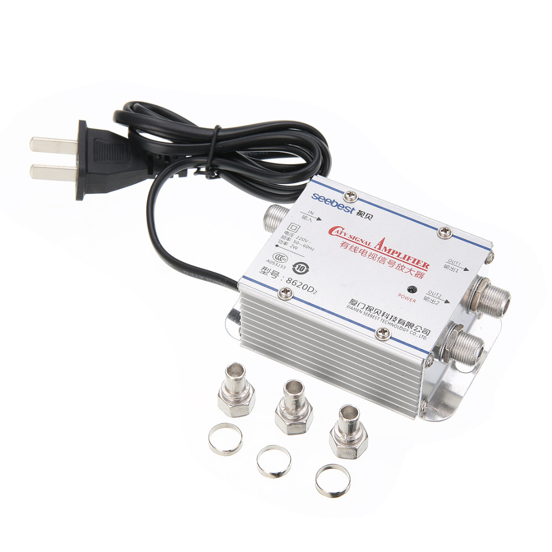 Hot Sale 1pc 2Way CATV VCR TV Antenna Signal Amplifier Low Noise Current Design CATV Booster Splitter 220V 45-860MHz
