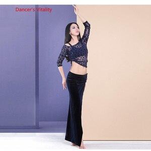 Image 3 - Womens 2 piece Set Oriental Dance Costume Double Color Contrast velvet Dress Bellydance Practice Wear On Sale