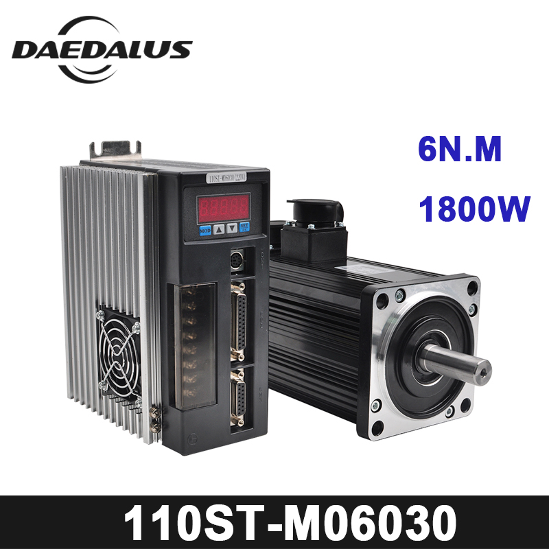 1.8KW AC Servo Motor 6N.M 3000RPM 110ST-M06030 AC Motor +Matched Servo Motor Driver+3M Cable Complete Motor kits High Quality 1 set new servo system kit 6n m 1 8kw 3000rpm 110st ac servo motor 110st m06030 matched servo driver