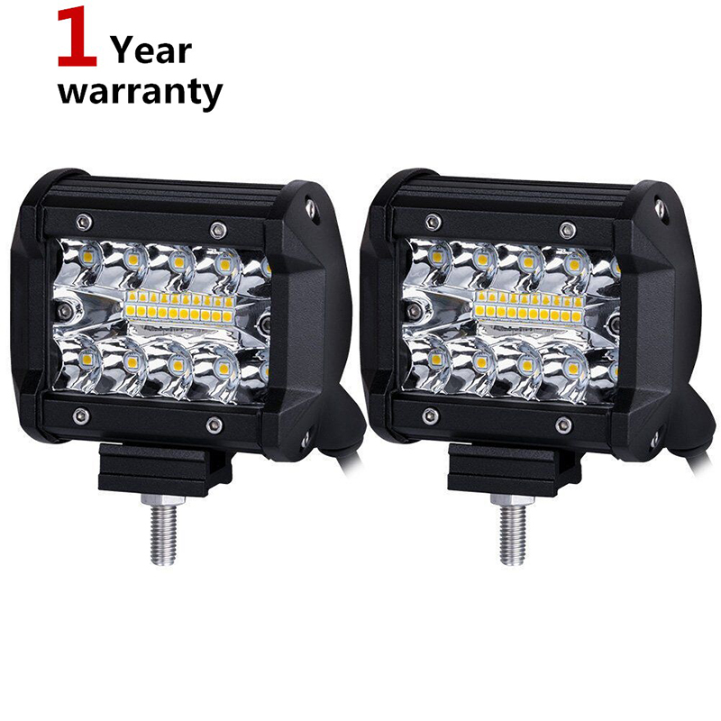 2X 2017 New 4 Inch 60W LED Work headlight Lamp Bar Combo Offroad Motorcycle Foglights LED Beams For Boats ATV UTV SUV Jeep Truck