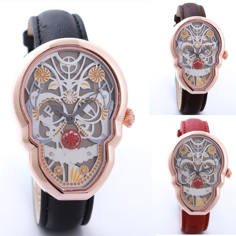 ФОТО 2017 HOTIME Top Luxury Brand Big Skull Head Dial Quartz Leather Watches Art Totem Street Hip Hop Men Wrist Watch Sports Watches
