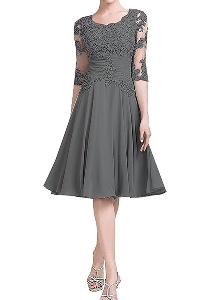2019 Short Mother of the Bride Dresses With Half Sleeves Appliqued A-Line Scoop Formal Summer Wedding Party Dinner Gown Women
