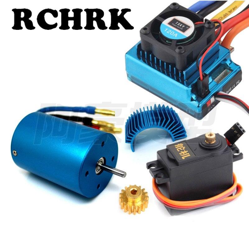 3650 3300KV 2700KV moteur brushless + 120A ESC + moteur 17 Tgear + moteur radiateur + moteur de direction pour RC 1/10 HSP 94111 94107 94103 94123