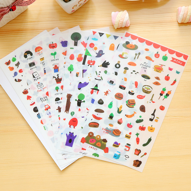 6 PCS DIY Colorful Cartoon food Expression Kawaii Stickers Diary Planner Journal Note Diary Paper Scrapbooking Albums Photo Tag