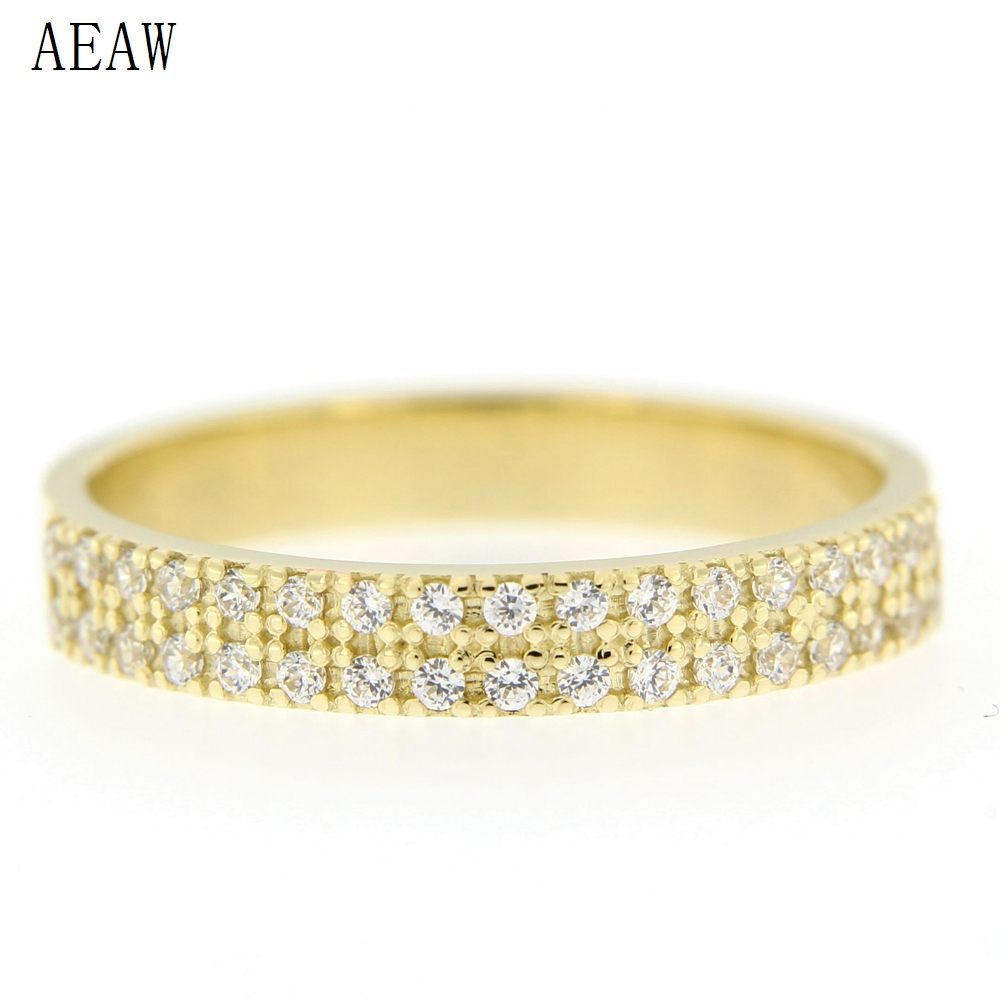Anniversary Diamond Ring Natural Round Real Pave Diamond Eternity Band 14K Solid Yellow Gold Double Row Ring For Women