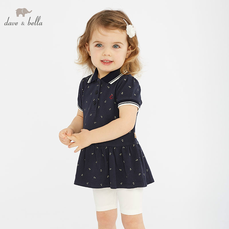 DB10767 Dave Bella Spring Baby Girl Fashion Clothing Sets Girls Lovely Short Sleeve Suits Navy Children