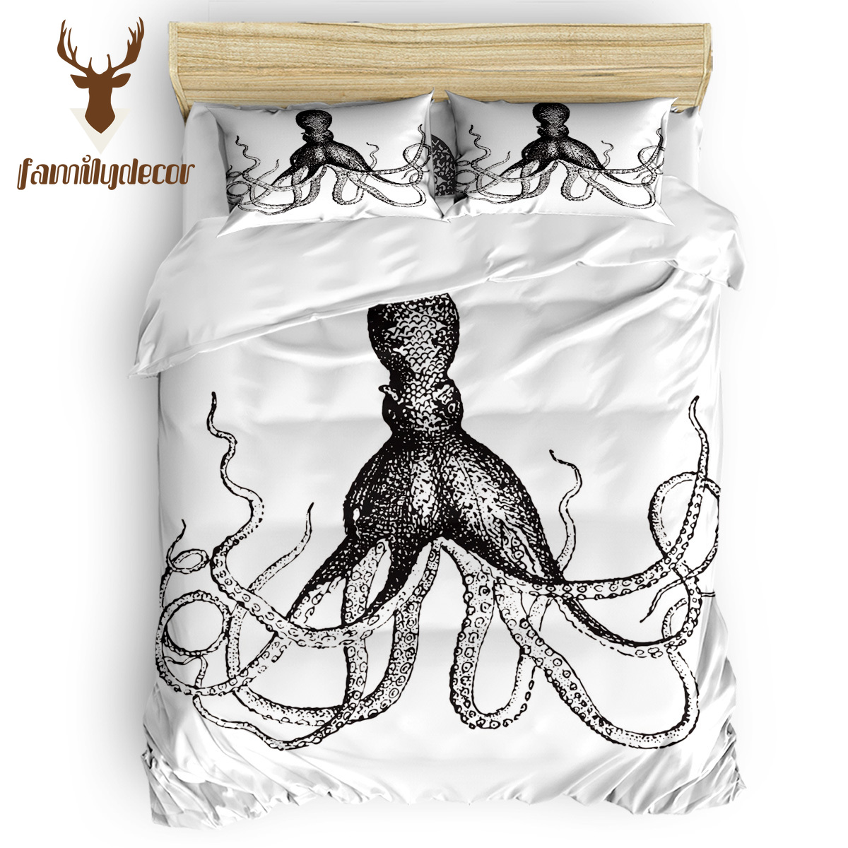 FamilyDecor DHL Free Shipping Sea Octopus Cthulhu Bedding Sets Duvet Set Covers Father'S Day Flat Sheet Halloween Bed Sets